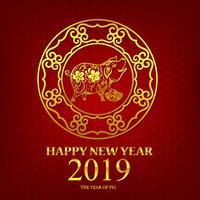 Feliz ano novo 2019 porco estilo de arte chinesa 002