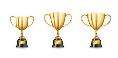 Conjunto de coleção de copos troféu dourado isolado no fundo branco