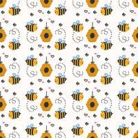Padrão sem emenda de abelha vetor
