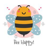 Ilustração de abelha feliz vetor