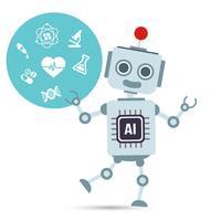 AI Inteligência Artificial Robô de tecnologia com médicos