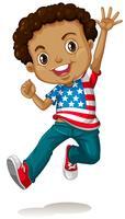 Menino americano africano, pular vetor