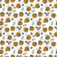 Padrão de abelha desenhada mão vetor