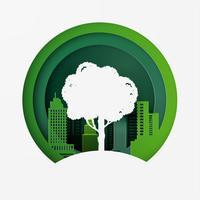 Natureza e eco conceito amigável. Conservação do dia do ambiente mundial. Estilo de arte de papel. vetor