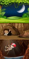 Escoteiro explorando a caverna vetor