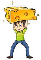 Homem, carregando um queijo vetor