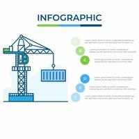 Infográfico de negócios. Diagrama de infográficos com guindaste. modelo para apresentação. transporte de mercadorias e conceito de logística. vetor