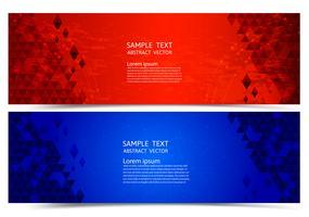 Banner vermelho e azul cor geométrica abstrato, ilustração vetorial para o seu negócio