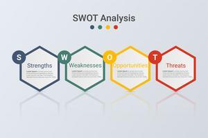 Infográficos de análise Swot. Modelo de negócio moderno 3D. vetor