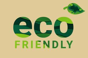 Salvar o conceito do mundo do planeta da terra. Conceito de dia do meio ambiente. conceito de ecologia. texto eco amigável e folha natural verde. vetor