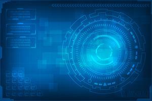 Fundo abstrato de tecnologia. mundo digital de tecnologia de informações de negócios. interface gráfica virtual azul futurista.