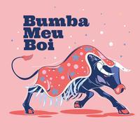 Ilustração Bumba Meu Boi ou Hit My Bull vetor