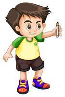 jovem garoto segurando um lápis vetor