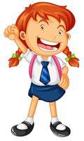 Menina feliz em uniforme escolar vetor