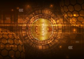 Moeda digital de Bitcoin com fundo de vetor abstrato de circuito para tecnologia, negócios e marketing on-line