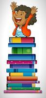 Menino, com, pilha livros