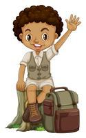 Menino africano, em, acampamento, paleto vetor