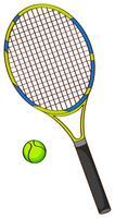 Raquete de tênis e bola de tênis vetor