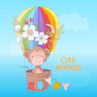 Cartaz do cartão de um macaco bonito em um balão com as flores no estilo dos desenhos animados. Desenho à mão.