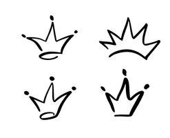 Conjunto de símbolo de mão desenhada de uma coroa estilizada. Desenhado com uma tinta preta e pincel. Ilustração vetorial isolada no branco. Design de logotipo. Pincelada grunge vetor