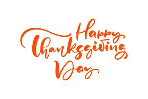 Feliz dia de ação de Graças escova mão desenhada letras e caligrafia, isolado no fundo branco. Ilustração vetorial caligráfica para projeto de tipo de feriado