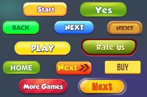 botões casuais para jogos móveis detalhe ui vetor