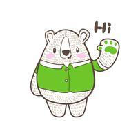 bonito ursinho dos desenhos animados doodle vector