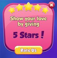 Avalie-nos cena pop-up com 5 estrelas e botões