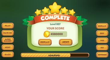Menu completo do nível do jogo ui pop up com estrelas pontuação e botões vetor