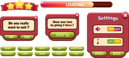 Definir taxa nos e sair cena do menu pop-up com barra de carregamento jogo ui vetor