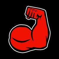 Strong Bodybuilder Biceps Flex braço Vector ícone