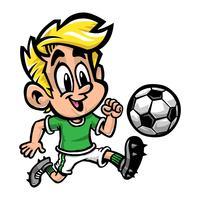 Garoto de menino dos desenhos animados jogando futebol ou futebol em uma t-shirt verde e sapatos de grampo vetor