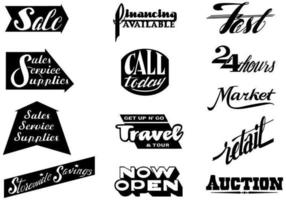 Pacote de vetores de tipografia de varejo vintage