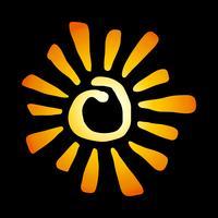 Sol estilizado amarelo em ícone de vetor de estilo tribal pintado de tinta