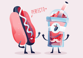 Ilustração em vetor bonito personagem verão comida