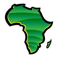 Mapa detalhado do continente de África em silhueta preta vetor