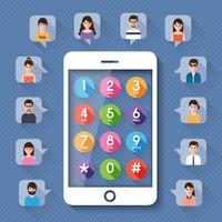 Conectando pessoas via rede social. vetor