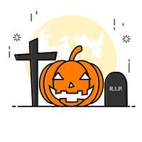 Estilo de arte de linha plana. design para o dia das bruxas. site e banner. vetor