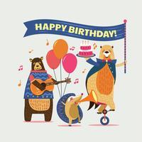 Ilustração de animais dos desenhos animados bonitos para festa de aniversário feliz de crianças vetor