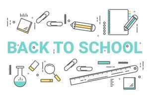 Bem-vindo de volta ao conceito de escola. Design de estilo de arte de linha fina para educação idéia tema site banner. vetor
