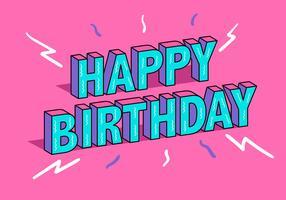 Feliz aniversário tipografia em fundo rosa vetor