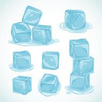 Coleção de clipart de cubos de gelo vetor