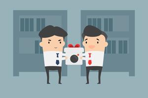 Concorrentes dão presentes como bombas. Elimine o conceito dos concorrentes. Empresário no escritório.