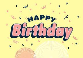 Feliz aniversário tipografia em alegre fundo amarelo vetor