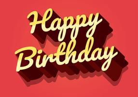 Feliz aniversário tipografia em letras amarelas vetor