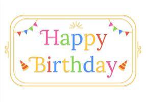 Feliz aniversário tipografia em fundo branco vetor