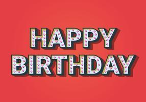 Feliz aniversário tipografia em fundo vermelho vetor