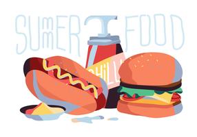 Ilustração vetorial de comida de verão vetor