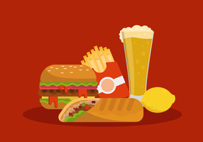 Ilustração em vetor Colledtion de comida de verão