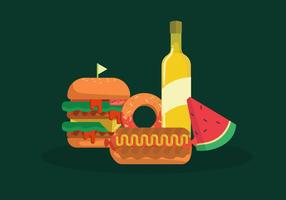 Ilustração plana de vetor de comida de verão